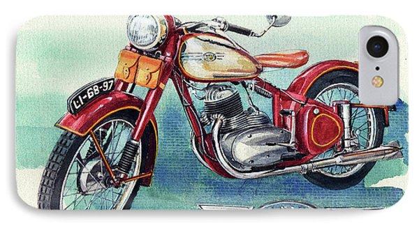 Jawa Motor Cycle IPhone Case by Yoshiharu Miyakawa