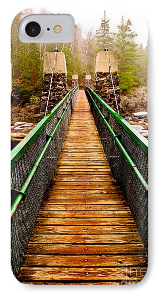 Jay Cooke Hanging Bridge In Fog IPhone Case by Mark David Zahn