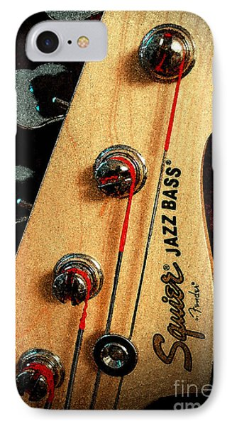 Jazz Bass Headstock Phone Case by Todd A Blanchard