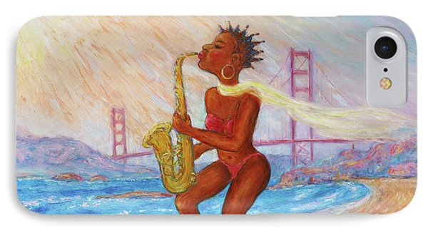 IPhone Case featuring the painting Jazz San Francisco by Xueling Zou
