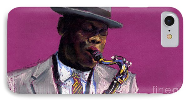 Jazz Saxophonist IPhone 7 Case by Yuriy  Shevchuk