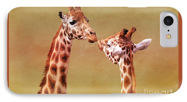 Je T'aime Giraffes IPhone Case by Terri Waters