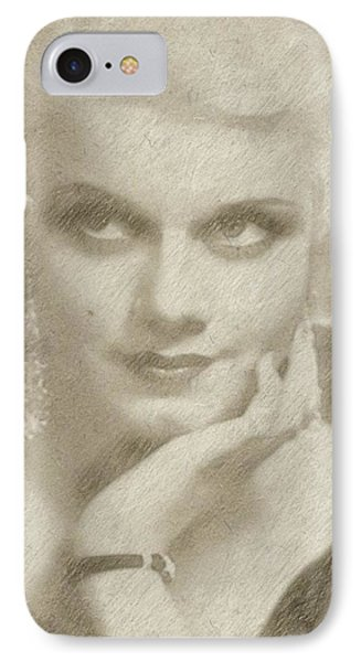 Jean Harlow Vintage Hollywood Actress IPhone Case by Frank Falcon