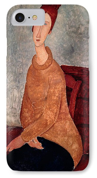 Jeanne Hebuterne In A Yellow Jumper IPhone Case by Amedeo Modigliani