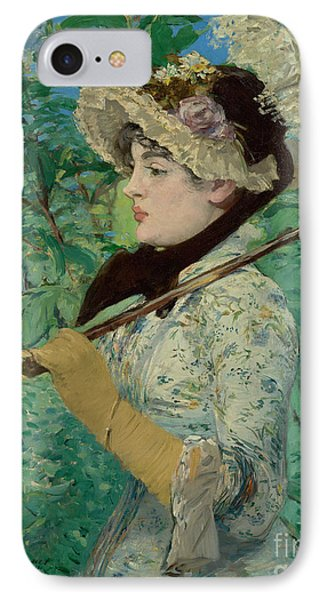 Jeanne - Spring By Edouard Manet  IPhone Case by Esoterica Art Agency