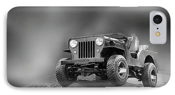 IPhone Case featuring the photograph Jeep Bw by Charuhas Images
