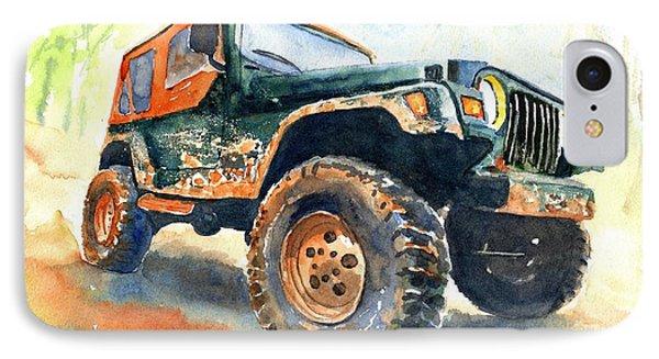 Car iPhone 7 Case - Jeep Wrangler Watercolor by Carlin Blahnik CarlinArtWatercolor
