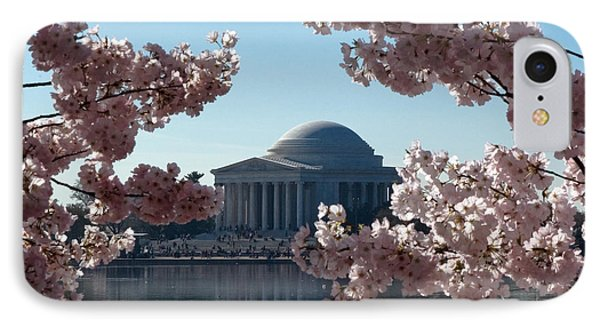 IPhone Case featuring the photograph Jefferson Memorial At Cherry Blossom Time On The Tidal Basin Ds008 by Gerry Gantt