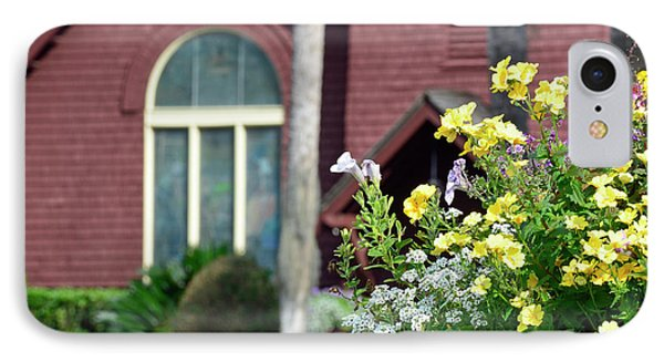 IPhone Case featuring the photograph Jekyll Island Chapel And Flowers by Bruce Gourley