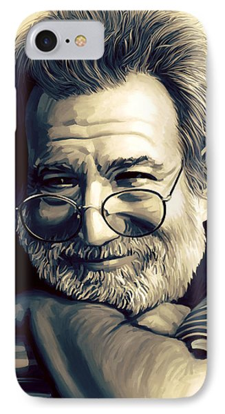 Jerry Garcia Artwork  IPhone Case by Sheraz A