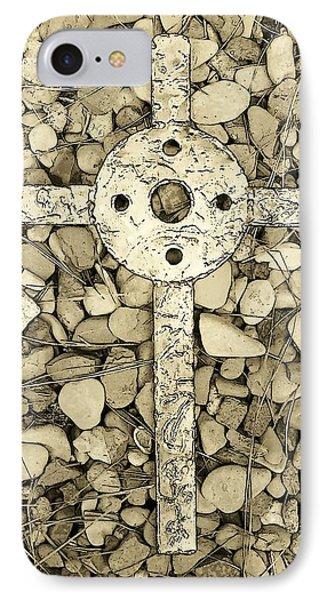 Jerusalem Cross In Sepia Tone Phone Case by Deborah Montana