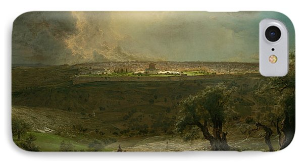 Jerusalem From The Mount Of Olives IPhone Case by Frederic Edwin Church