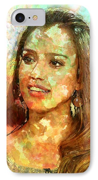 Jessica Alba iPhone 7 Case - Jessica Alba by Elena Kosvincheva