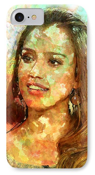Jessica Alba IPhone Case by Elena Kosvincheva