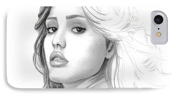Jessica Alba iPhone 7 Case - Jessica Alba by Gil Fong