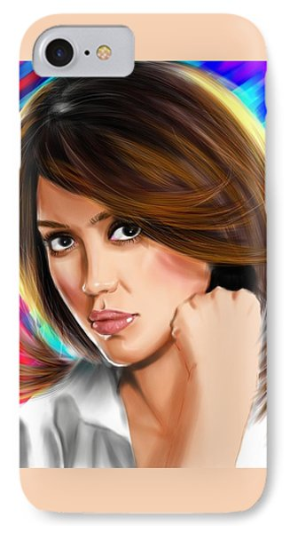 Jessica Alba IPhone 7 Case by Isaac Martinez