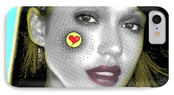 Jessica Alba Pop Art, Portrait, Contemporary Art On Canvas, Famous Celebrities IPhone Case by Dr Eight Love