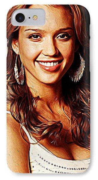 Jessica Alba iPhone 7 Case - Jessica Alba by Iguanna Espinosa