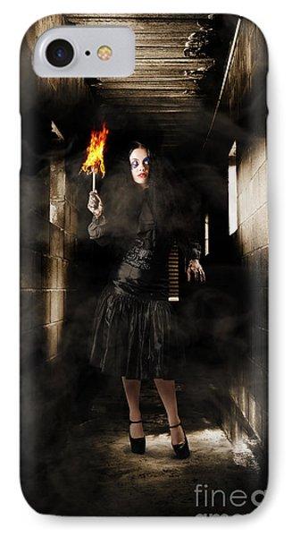 Jester Woman In Fear Walking Haunted Castle Halls IPhone Case by Jorgo Photography - Wall Art Gallery