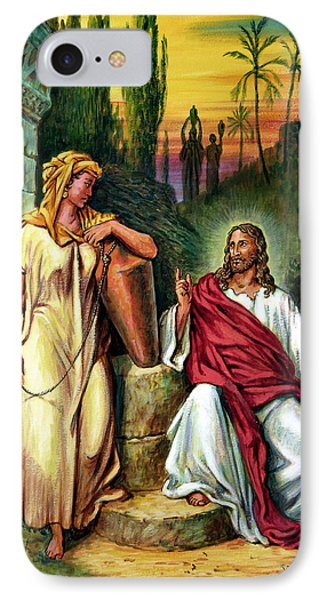 Jesus And The Woman At The Well Phone Case by John Lautermilch