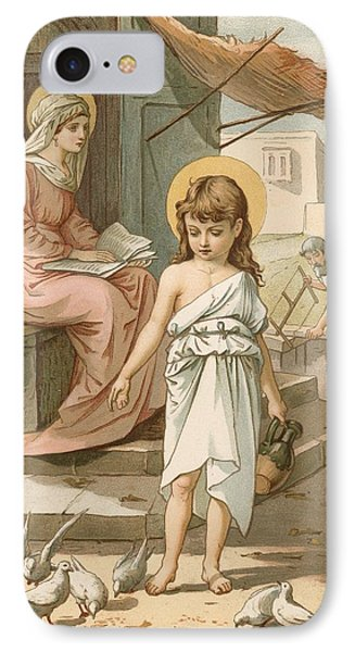 Jesus As A Boy Playing With Doves IPhone Case by John Lawson