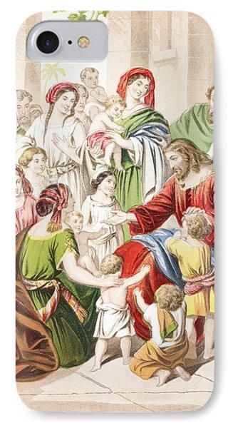 Jesus Blessing Little Children. Suffer IPhone Case by Vintage Design Pics
