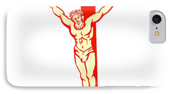 Jesus Christ On Cross Woodcut IPhone Case by Aloysius Patrimonio