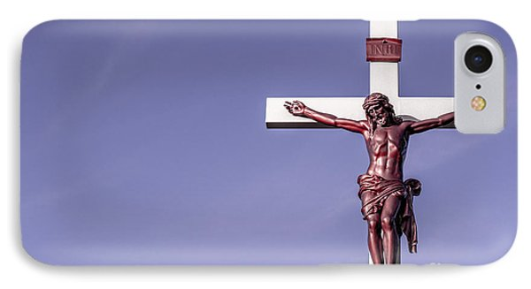 IPhone Case featuring the photograph Jesus Crucifix Against The Sky by Gary Whitton