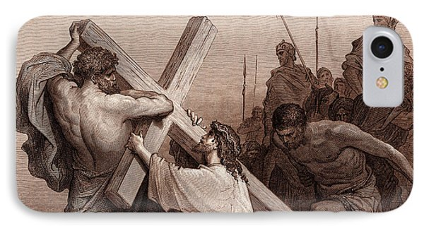 Jesus Falling Beneath The Cross IPhone Case by Gustave Dore