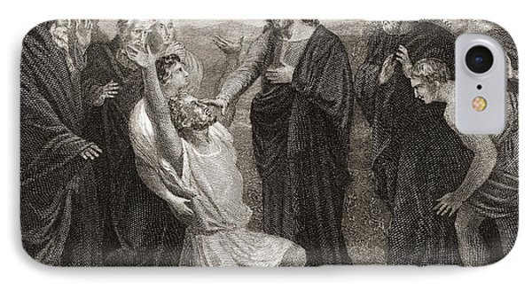 Jesus Healing The Blind. From A 19th IPhone Case by Vintage Design Pics