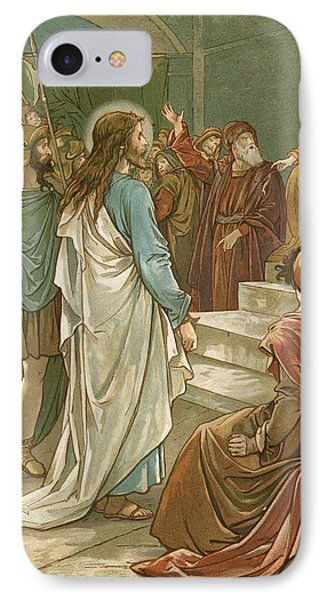 Jesus In Front Of Pilate Phone Case by John Lawson