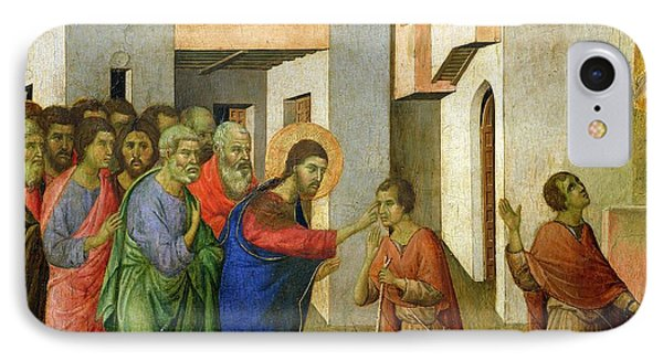 Jesus Opens The Eyes Of A Man Born Blind Phone Case by Duccio di Buoninsegna