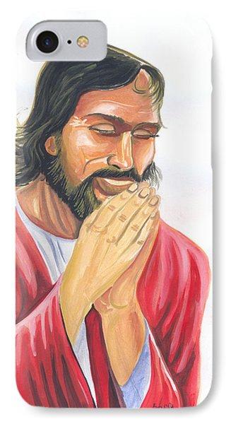 Jesus Praying IPhone Case by Emmanuel Baliyanga