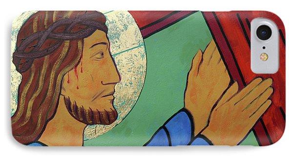 Jesus Takes Up His Cross IPhone Case by Sara Hayward