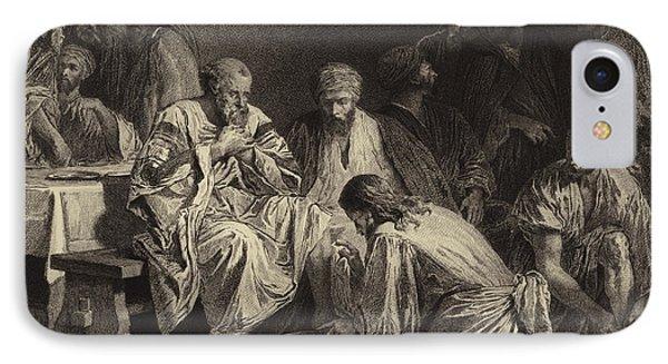 Jesus Washing The Disciples' Feet IPhone Case by Albert Robida