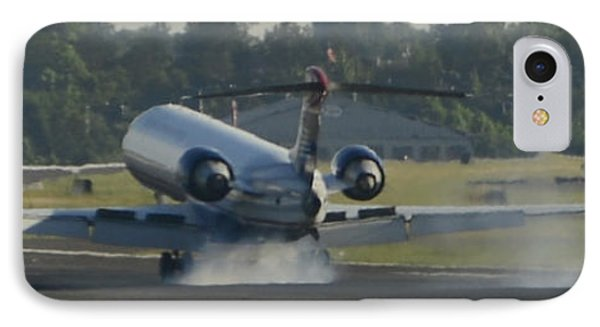 Jet Plane Landing On Runway With Tires Smoking IPhone Case by David Oppenheimer