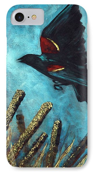 IPhone Case featuring the painting Jewel Among The Cattails by Suzanne McKee