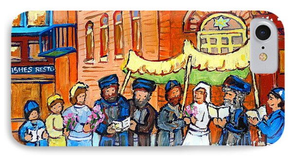 Jewish Wedding Under The Chupa Montreal Street Scene Bagg Synagogue Canadian Art Carole Spandau      IPhone Case by Carole Spandau