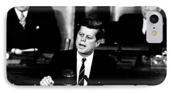 Jfk Announces Moon Landing Mission Phone Case by War Is Hell Store