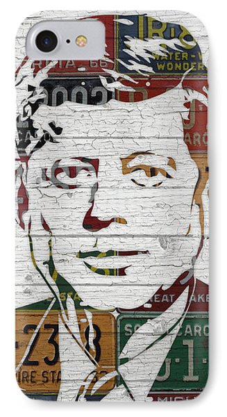 Jfk Portrait Made Using Vintage License Plates From The 1960s IPhone Case by Design Turnpike