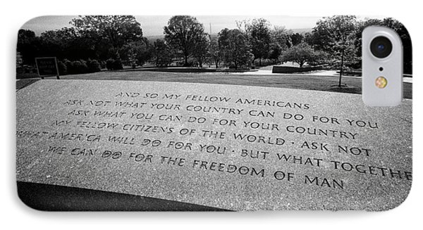 jfk quotes from his inaugural address at John F, Kennedy gravesite arlington cemetery Washington DC  IPhone Case