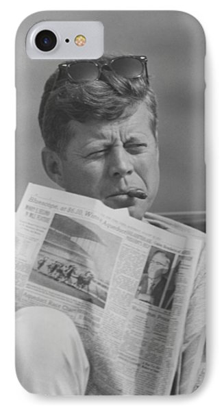 Jfk Relaxing Outside Phone Case by War Is Hell Store