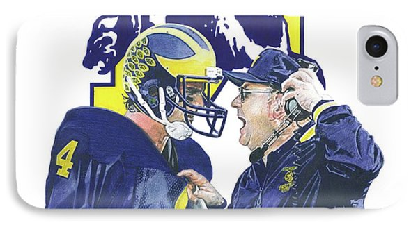 University Of Michigan iPhone 7 Case - Jim Harbaugh And Bo Schembechler by Chris Brown