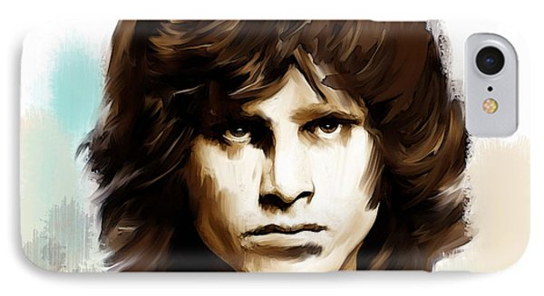 IPhone Case featuring the painting Jim Morrison Stolen Dust by Iconic Images Art Gallery David Pucciarelli