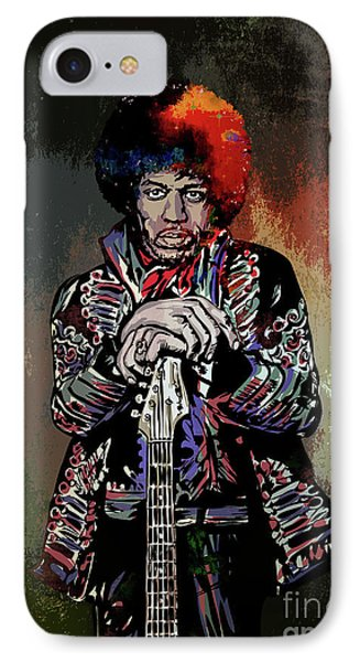IPhone Case featuring the painting Jimi  by Andrzej Szczerski