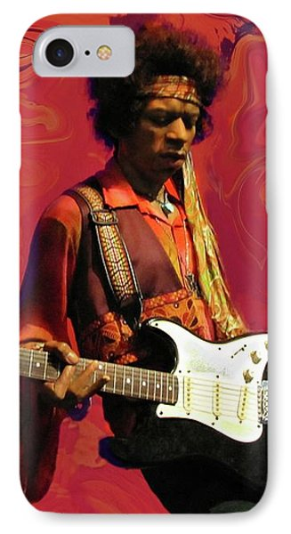 IPhone Case featuring the photograph Jimi Hendrix Purple Haze Red by David Dehner