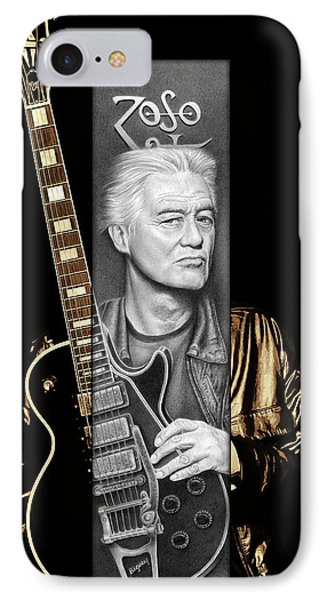 Jimmy Page iPhone 7 Case - Jimmy Page Drawing by Jeffrey St Romain