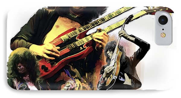 IPhone Case featuring the painting Jimmy Page  Echoes Of Pompeii by Iconic Images Art Gallery David Pucciarelli