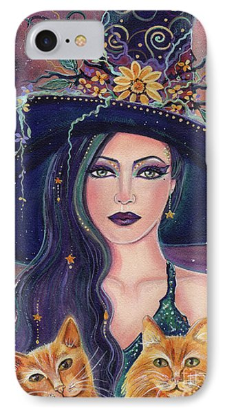 Jinx And Jazz Halloween Witch With Kitties IPhone Case by Renee Lavoie