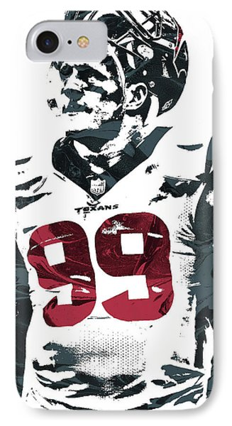 Jj Watt Houston Texans Pixel Art 4 IPhone Case by Joe Hamilton